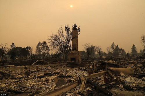 A chimney stands alone in a destroyed home in Santa Rosa on Monday, October 9. October has generally been the most destructive time of year for California wildfires.