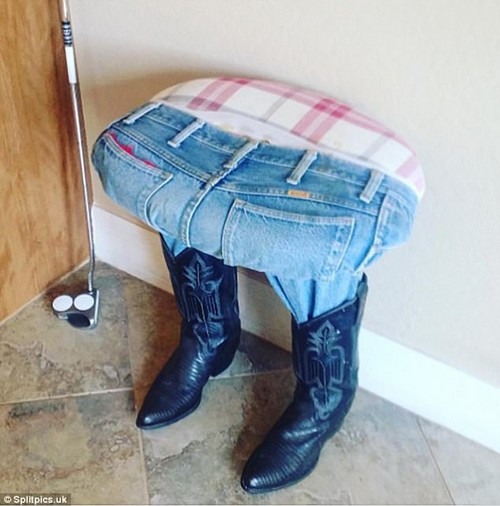 Looks comfy! This bizarre, cowboy-themed stool appeared to have taken on a life of its own, sprouting legs and donning a pair of pointed leather boots