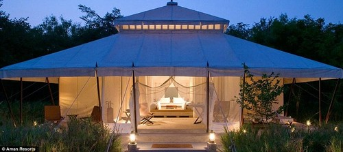 A wildlife camp on the threshold of Ranthambore National Park in Rajasthan, northern India, offers guests a spot of safari-style indulgence
