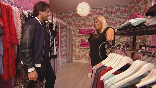 Having it out: Arg and Gemma finally come face to face in her shop with Arg telling the bubbly blonde that he has distanced himself from her