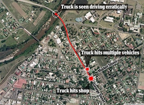 The truck was seen driving erratically through the main street as it hit a number of buildings