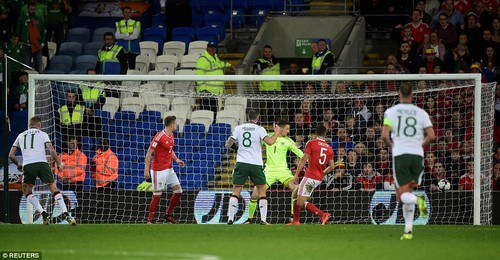 Meeting the ball on the half volley, McClean smashed a right-footed drive into the corner of Wayne Hennesey's goal