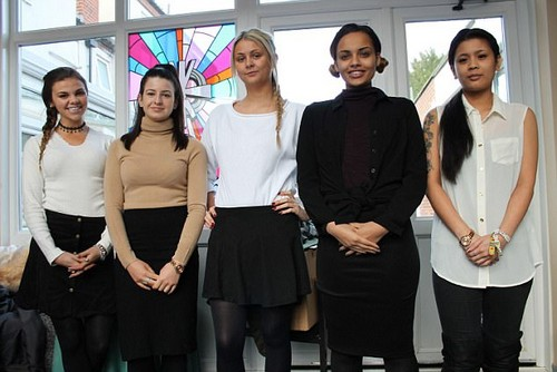 Reformed: The girls have toned down their fashion and our trying to fit in at the Convent. Pictured left to right, Gabbi Ryan, Paige Wallace, Sarah Lawrence, Tyla Edwards, Rebecca Cheng