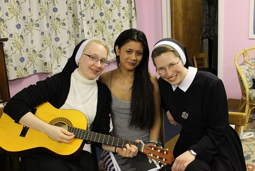 Sing-a-long:Rebecca and the Sisters enjoying recreation time at the Convent