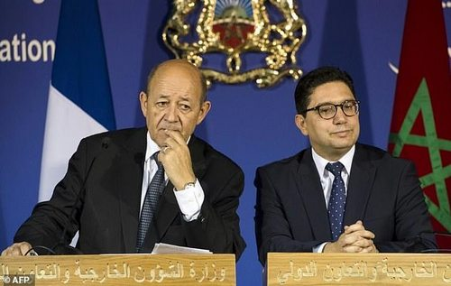 Moroccan Foreign Minister Nasser Bourita (right) and his French counterpart Jean-Yves Le Drian in Rabat on October 9