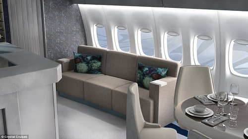 Sit back and relax: The jet features lots of social space - after gorging on a Michelin-star dinner, guests can recline on spacious couches