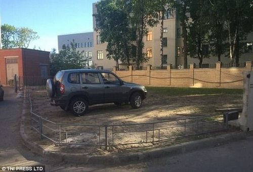 It's not clear exactly how how this driver managed to get into this fenced off area