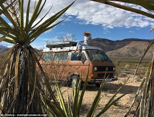 Having a wild time: Lisa poses on top of the van as they enjoy a pit-stop in the wilderness