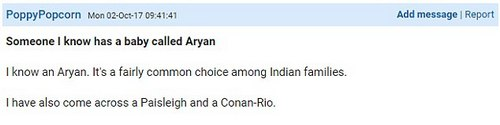 Various people were alarmed by the use of the name Aryan, although one poster pointed out that it's a common Indian name