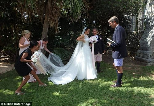 Mr McGowan was a 'drama director' at Warwick Academy when Miss Bento (pictured on her wedding day on July 21) was a pupil there. She is an aspiring actress and singer and performed at the opening ceremony to the 35th America's Cup