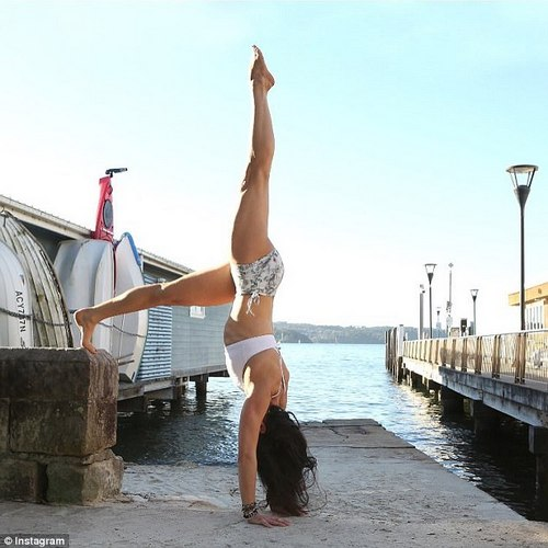 'I don't pressure myself to exercise when I don't have time but even if I don't it's fun to go down and to handstands and cartwheels with the kids in the park,' Taryn said, adding that she also enjoys martial arts