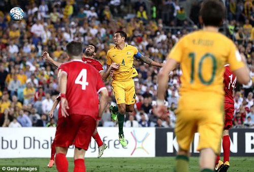 Australia captain Tim Cahill rises highest to head his side to victory in the dying minutes
