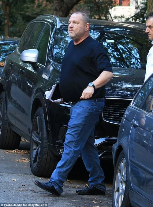 Closing in:It is now being revealed that the day after she was groped by Weinstein (above on Friday), NYPD detectives were ready to arrest the disgraced mogul