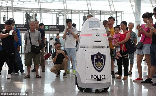 The Beijing trial comes shortly after slightly friendlier-looking robots, called AnBots began patrolling the departure hall of terminal three at Shenzhen International Airport in southern China