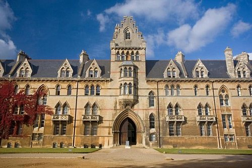Undergraduates stripped off at the notorious 'bop' at the prestigious Christ Church college (pictured), with male scholars going topless while females stripped down to their bras