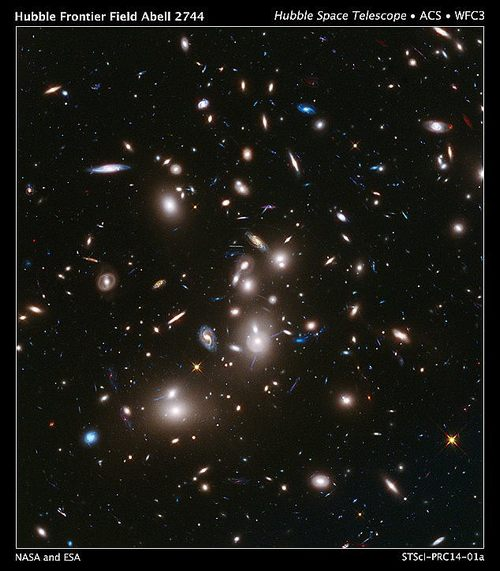 'Missing baryons' - subatomic particles made up of three quarks - were detected by the team by layering Plack readings of clusters of galaxies, such as this cluster known as Abell 2744