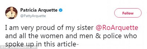Support: Patricia Arquette tweeted her support for sister Rosanna on Tuesday (above)