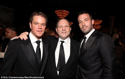 Suddenly finding their voice: Oscar-winning screenwriters Ben Affleck and Matt Damon (above in 2010 with Weinstein) decided to finally speak out against their friend on Tuesday