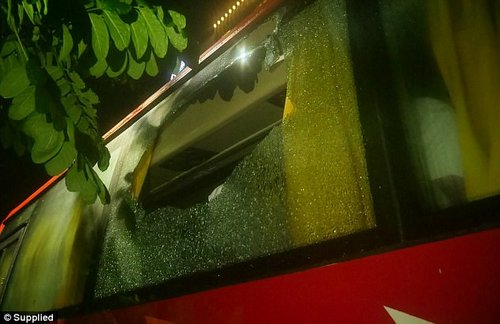 Australia opener Aaron Finch tweeted a picture of the broken window, saying it was 'pretty scary'