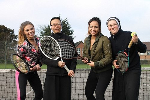 Tennis time: Gabbi, Sister Anna, Tyla and Sister Renata