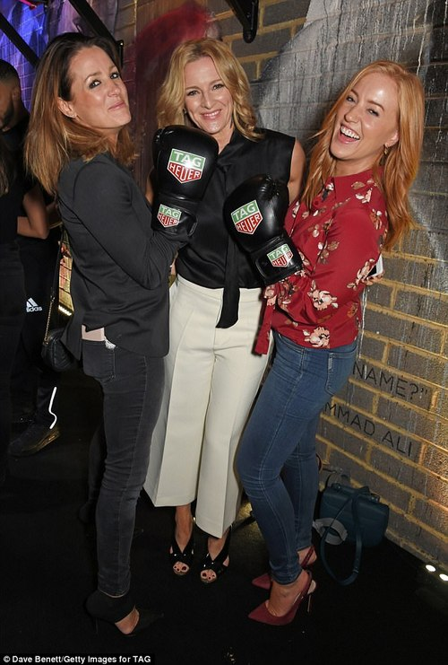 Getting in the spirit: Presenters Natalie Pinkham, Gabby Logan and Sarah-Jane Mee looked in great spirits at the event