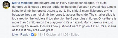 Many people commented saying that the new playground wasn't suitable for all ages