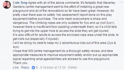 Although many were thankful that Waverley Shopping Centre had tried to cater to young families with the playground, others commented saying it missed the mark