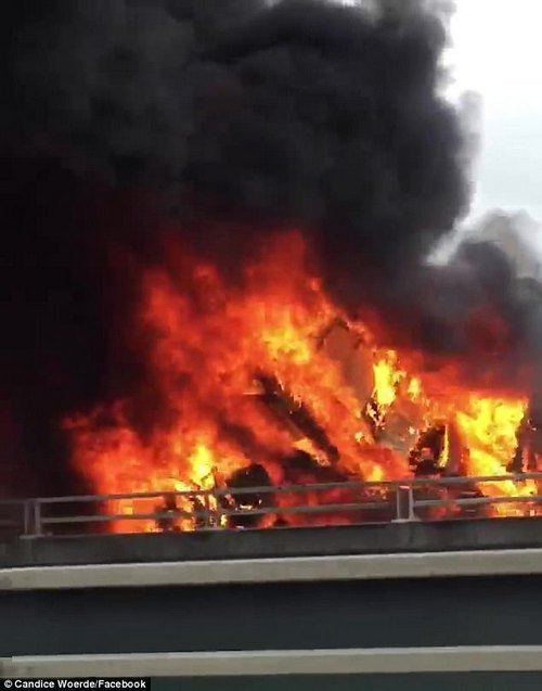 Extraordinary footage of the inferno was posted to social media by a commuter passing by