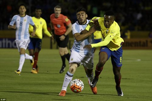 Eduardo Salvio battles for possession with Ibarra as the home side looked to end the visitors' hopes of World Cup qualification