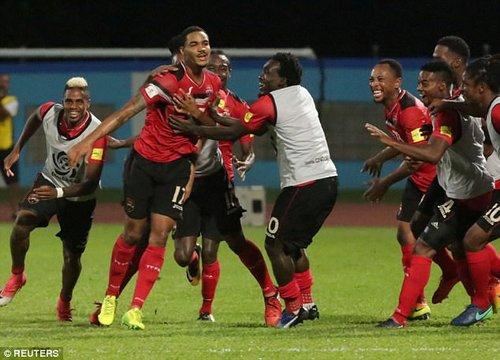 Alvin Jones celebrates scoring Trinidad's second goal on the night