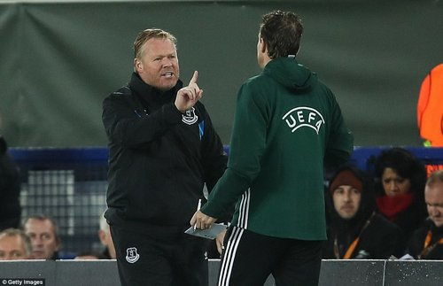 Under-pressure Everton boss Ronald Koeman hit out at the referee and his assistants in his post-match interview on BT Sport