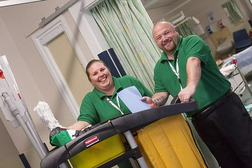 The time from a patient being discharged to their bed being ready for a new patient is less than two-and-a-half hours, down from approximately four hours as bed-changing staff (pictured) can automatically see when the space becomes available