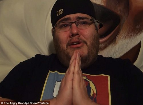Tribute: Angry Grandpa's son Michael shared an emotional video (pictured) on Sunday announcing his dad's passing and looking back on Charles' second act as an online star