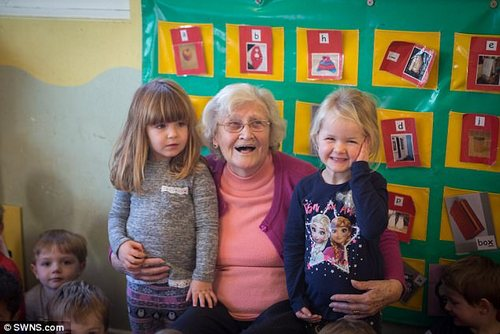 Sarah said the children  look after Joyce as well – 'it's like they know she's elderly and needs a bit of looking out for'