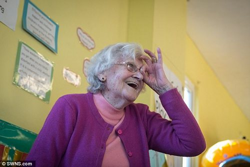 Joyce said it was 'a bit overwhelming' volunteering at the nursery but now she loves it