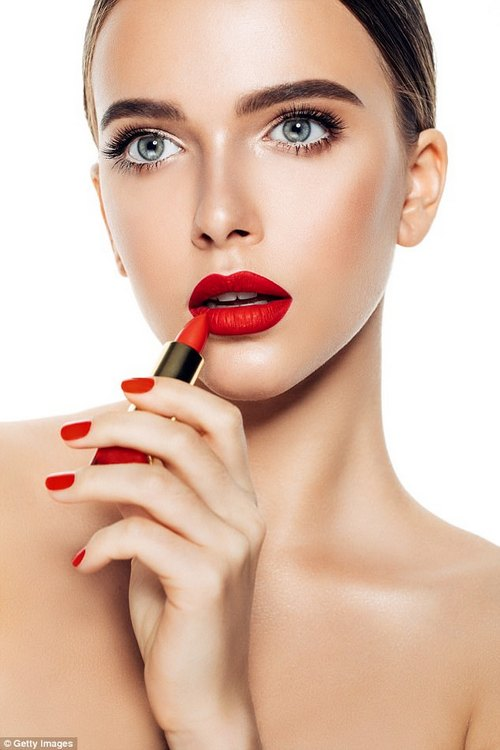 A very bold pout can look dramatic but the defined look is ageing on older women (stock image)