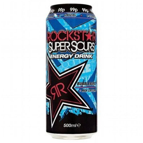 Rockstar's Super Sours Energy Drink Bubbleburst also has 70g, or 17 teaspoons, of sugar