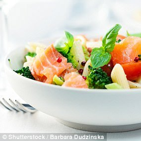 Salmon with your salad for lunch is a healthy option to help boost your sex drive (stock image)