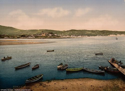 Sail away: A view from the Hendaye, Fuenterrabia, shows a collection of fishing boats and sea workers