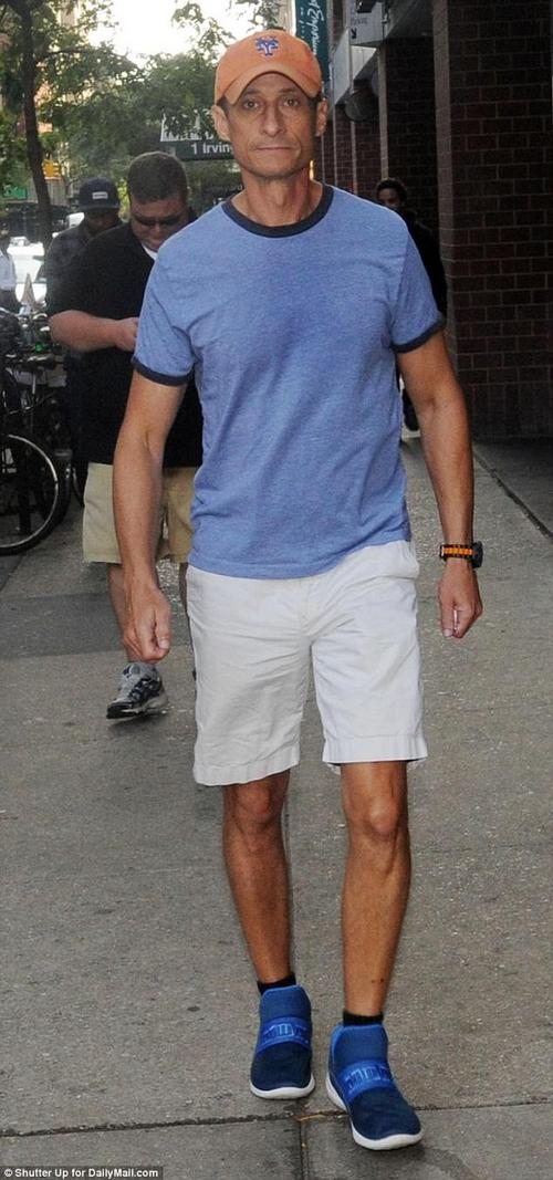 Meanwhile: Weiner was pictured the day after his sentencing leaving his apartment in New York City, wearing the same hat, shorts, and shoes as the previous day