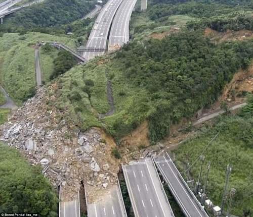 A landslide in Taiwan obliterates multiple lanes of a motorway