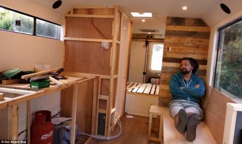 Luckily David is a skilled craftsman and he went about building the interiors of the bus from scratch
