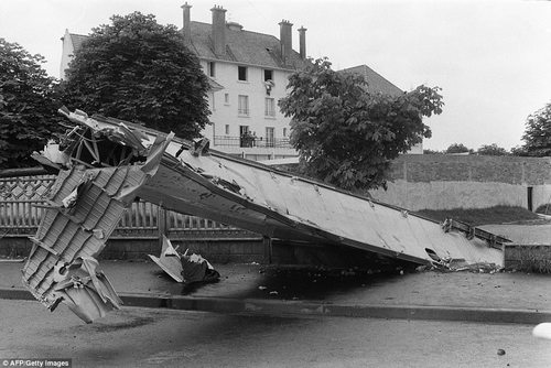 View of the wreckage of the Tupolev Tu-144 that crashed during the Paris air show, killing all six on board and eight on the ground. It also destroyed 15 houses in Goussainville