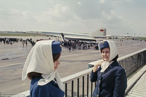 The Tupolev Tu-144's commercial service was stopped in 1978 after another test flight crash and a string of failures. Above, air hostesses seen at a press launch at Moscow airport in 1969