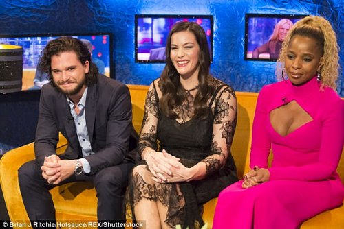 Smiles all round: Kit, Liv and Mary J Blige sit together, with Mary rocking a hot pink dress with daring chest cut-out