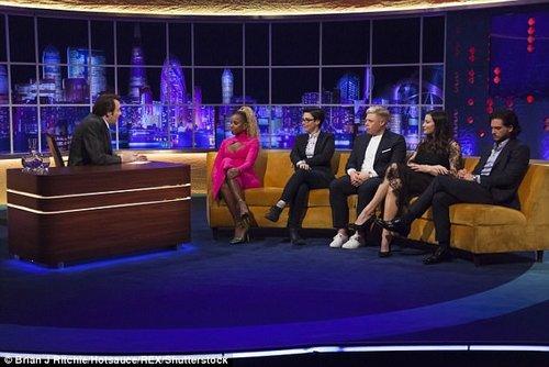 Star line up: (From the left) Jonathan Ross hosts US singer Mary J Blige , 46, former GBBO host Sue Perkins, 48, comedian Rob Beckett, 30, Liv Tyler and Kit Harington