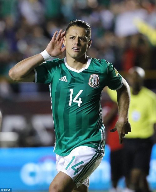 'Little Pea' Javier Hernandez celebrates scoring for Mexico against Trinidad and Tobago