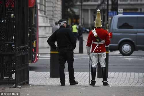 One onlooker told MailOnline: 'He's got 18th century armour on and a 2017 headset. It's all a bit odd'