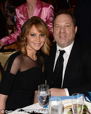 Jennifer Lawrence and Harvey Weinstein attend an awards ceremony in 2013