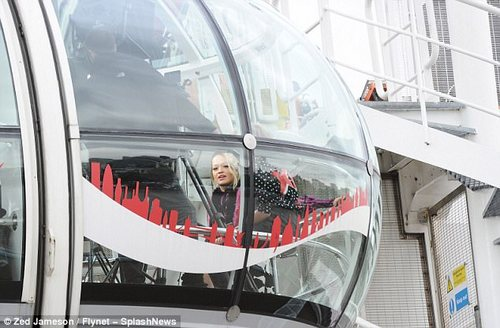 Different day out: The singer enjoyed a ride on the London Eye